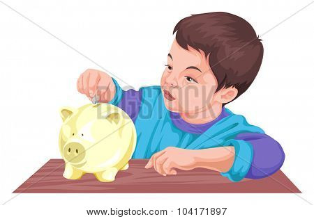 Vector illustration of boy inserting coin in piggy bank.