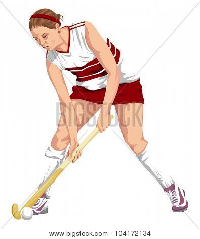 Vector illustration of female hockey player in action.