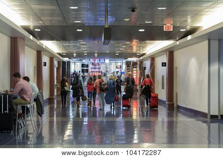 Busy corridor at McCarran International Airport