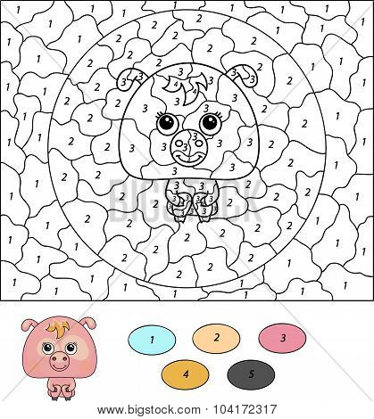 Color By Number Educational Game For Kids. Cartoon Pig. Vector Illustration