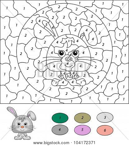 Color By Number Educational Game For Kids. Cartoon Hare Or Rabbit. Vector Illustration