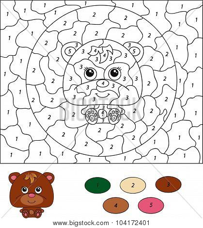 Color By Number Educational Game For Kids. Cartoon Bear. Vector Illustration