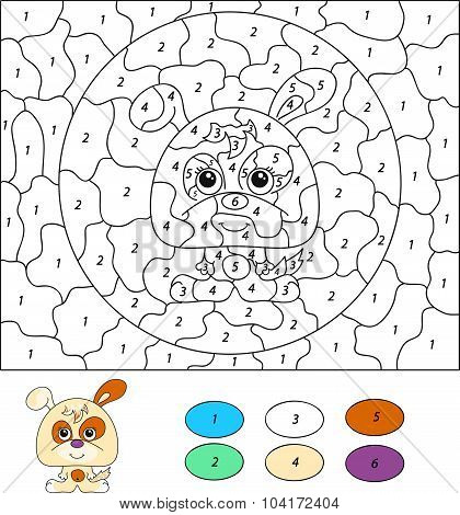 Color By Number Educational Game For Kids. Cartoon Dog Or Puppy. Vector Illustration