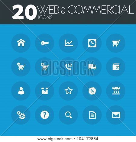 Web and commercial icons on round blue buttons