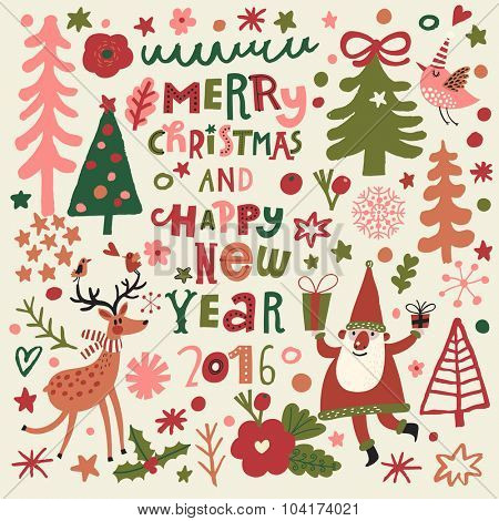Merry Christmas and happy New Year 2016 card. Stylish holiday card with cute Santa, funny deer, bird in trees and flowers. Bright cartoon background with holiday symbols in vector
