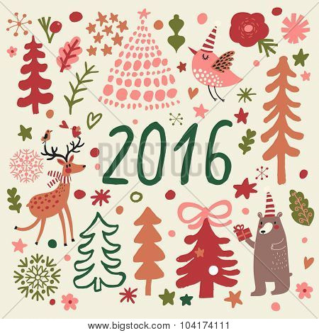 Awesome 2016 holiday set in cartoon style. Deer, bear and birds in holiday trees with stars and flowers. Lovely New Year and Christmas card in vector