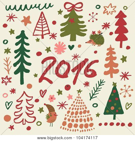 Lovely 2016 concept holiday card in vector. Cute winter forest with hedgehog and bird in bright colors