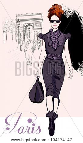Young pretty fashion model near Arc de Triomphe in Paris - Vector illustration