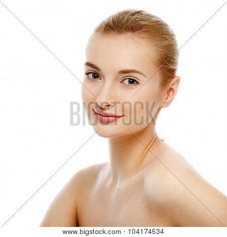 Beauty Portrait. Beautiful Woman Touching Her Face. Perfect Fresh Skin.