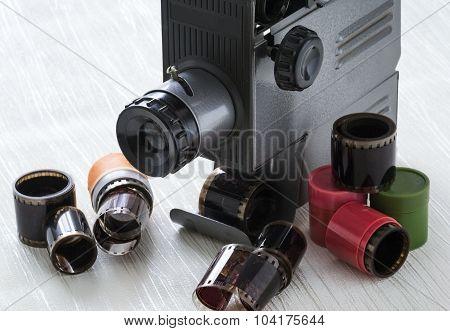 Old Slide Projector. Film