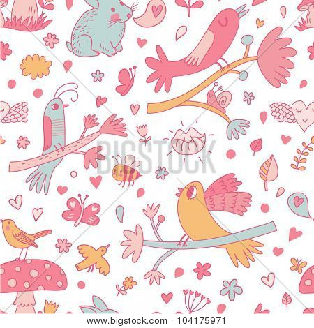 Lovely background with cute birds on branches, bees, butterflies, rabbit and other romantic symbols in vector. Awesome spring seamless pattern in pink colors.