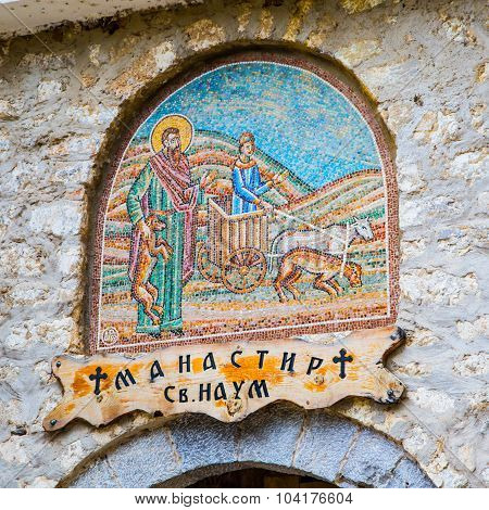 Saint Naum Monastery sign in Macedonia