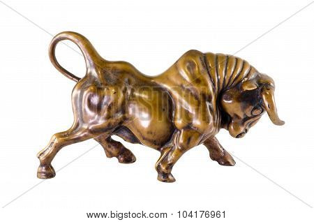 Bull Sculpture Isolated On White Background