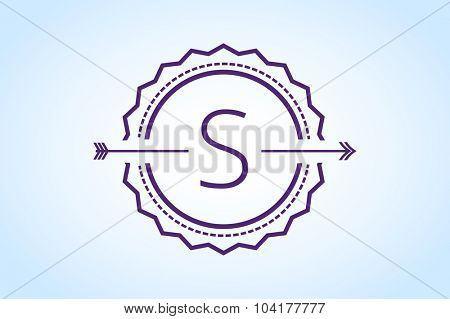 Vintage old style logo icon monogram. Letter S logo.