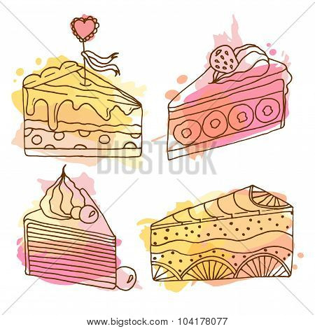 Vector Cake Illustration. Set Of 4 Hand Drawn Cakes With Colorful Splashes. Cakes With Cream And Ber