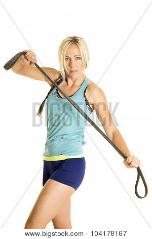 Woman In Blue Fitness Top With Band Serious