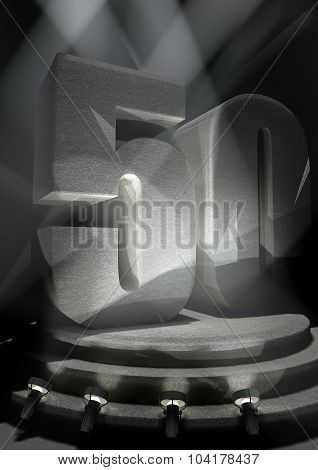 Anniversary Scene with FIFTY on pedestal