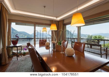 Interior of a modern apartment, classic decor, dining room