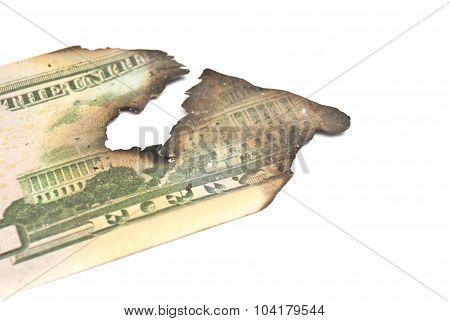 Burnt Dollar Banknotes