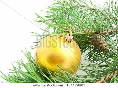 Branch With Cones And Christmas Tree Toy