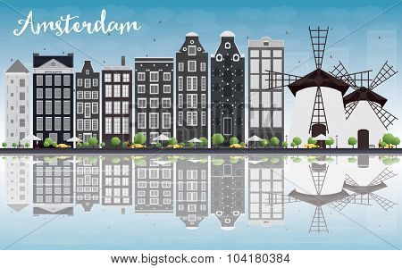 Amsterdam city skyline with grey buildings, blue sky and reflection. Vector illustration. Business travel and tourism concept with historic buildings. Image for presentation, banner, placard and web