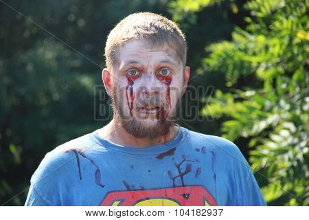 MUSKOGEE, OK - Sept. 12: Zombies get their make-up on and wait for runners during during the Castle Zombie Run at the Castle of Muskogee in Muskogee, OK on September 12, 2015.