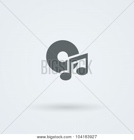 Minimalistic music icon. Disk and a note.