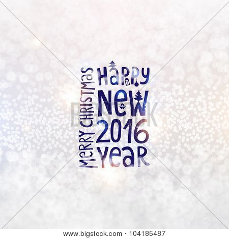 Blurred Christmas Lights for Xmas Holiday Design. Abstract Vector Illustration. Happy New 2016 Year Label.