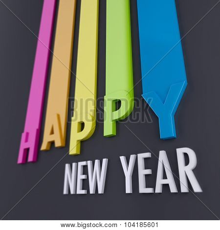 Happy New Year  composition in gray and white with 3D and colorful lines