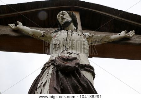 ZAGORJE, CROATIA - APRIL 05: Roadside Crucifix in Zagorje region, Croatia on April 05, 2014.