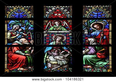ZAGREB, CROATIA - NOVEMBER 21: Nativity Scene, Adoration of the Shepherds, stained glass window in parish church of Saint Mark in Zagreb, Croatia on November 21, 2014