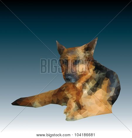 vector low polygon german shepherd