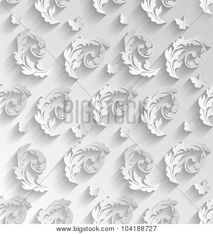 Paper Cut Seamless Pattern with Floral Elements and Butterflies,