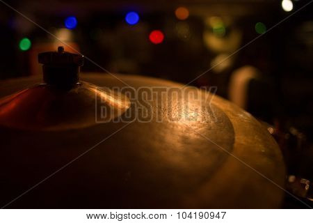 Drum kit cymbal in a dark room