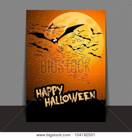 Halloween Flyer or Cover Design with Lots of Flying Bats Over the Night Field in the Darkness Under the Starry Sky and Yellow Moon - Vector Illustration
