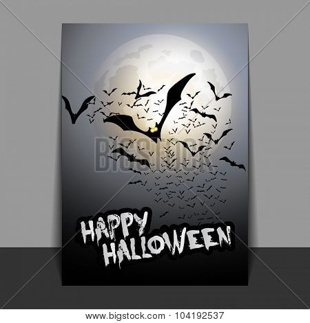 Halloween Flyer or Cover Design with Lots of Flying Bats Over the Night Field in the Darkness Under the Sky and White / Grey Moon - Vector Illustration