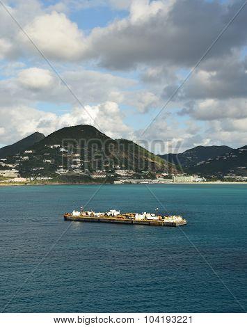 Cargo Ship Near Saint Maarten