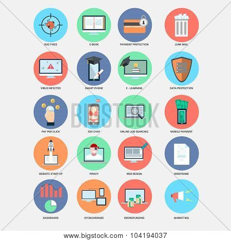Internet trend flat design icons