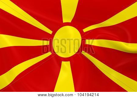 Waving Flag Of Macedonia - 3D Render Of The Macedonian Flag With Silky Texture