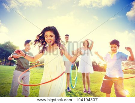 Family Spending Quality Time Park Bonding Exercising Concept