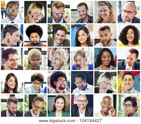 Collage Diverse Faces Group People Concept