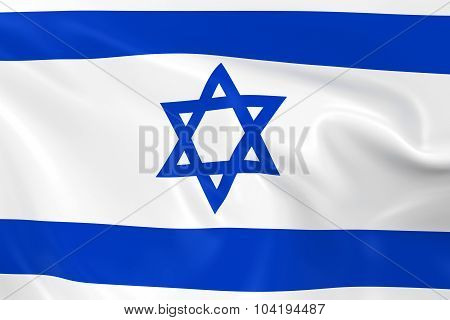 Waving Flag Of Israel - 3D Render Of The Israeli Flag With Silky Texture
