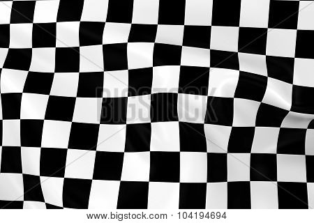 Waving Checkered Racing Flag - 3D Render Of A Black And White Checkered Flag With Silky Texture
