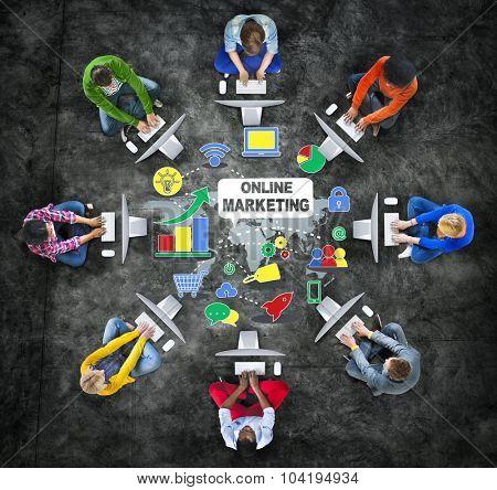 Online Marketing Meeting Technology Concept