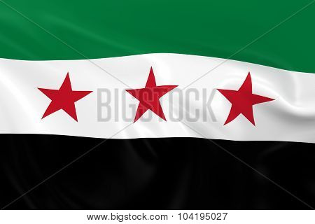 Waving Flag Of The Syrian Opposition - 3D Render Of The Syrian Opposition Flag With Silky Texture