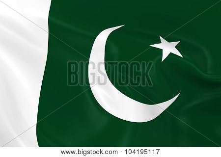Waving Flag Of Pakistan - 3D Render Of The Pakistani Flag With Silky Texture