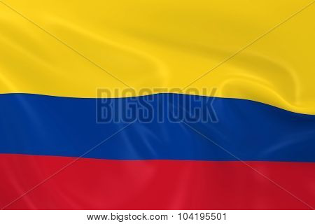 Waving Flag Of Colombia - 3D Render Of The Colombian Flag With Silky Texture