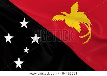 Waving Flag Of Papua New Guinea - 3D Render Of The Papua New Guinean Flag With Silky Texture