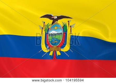 Waving Flag Of Ecuador - 3D Render Of The Ecuadorian Flag With Silky Texture