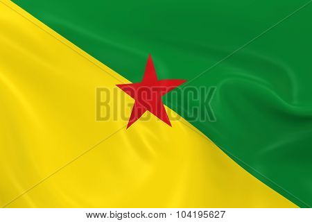 Waving Flag Of French Guiana - 3D Render Of The French Guianese Flag With Silky Texture